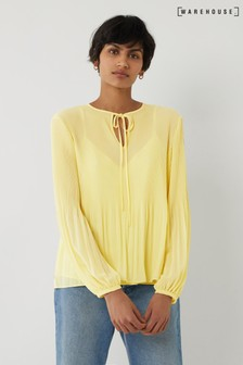 Warehouse Micropleat Tie Neck Top