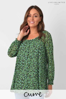 Live Unlimited Curve Green Animal Mesh Top