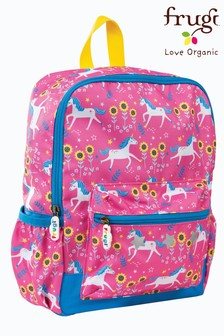 Frugi Recycled Backpack in Unicorn Print with Detail