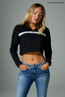Calvin Klein Black Logo Tape Mock Neck Sweatshirt