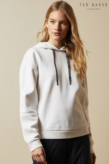 Ted Baker Cream Myha Branded Hooded Jumper