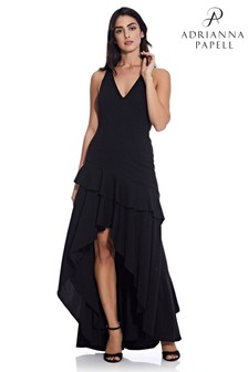 Adrianna Papell Black Crepe Ruffle Gown