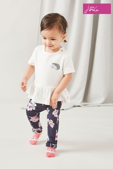 Joules White/Cream Olivia Jersey Top And Trouser Set