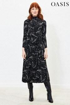 Oasis Black Star Pleated Midi Dress