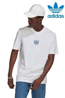 adidas Originals White 3D Trefoil T-Shirt
