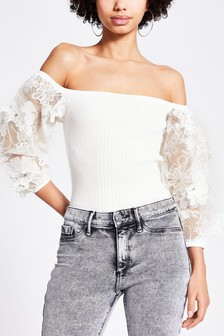 River Island White Bardot Fantasy Sleeve Top