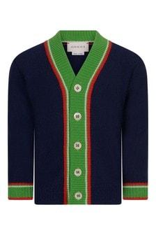 Baby Boys Navy Woollen Knitted Cardigan