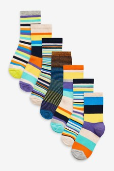 7 Pack Stripe Cotton Rich Socks