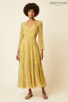 Great Plains Yellow Flo Chiffon V-Neck Maxi Dress
