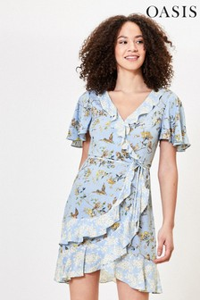 Oasis Blue Bird Print Tea Dress
