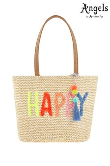 Angels by Accessorize Natural Happy Pom Pom Basket Bag