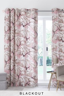 100% Cotton Sateen Willows Eyelet Curtains