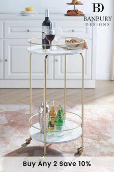 Banbury Designs 35 Faux Marble Modern Bar Cart