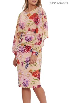 Gina Bacconi Pink Marlana Printed Dress And Chiffon Cape