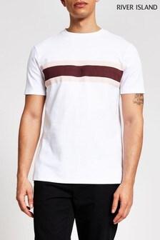 חולצת טי עם פאנל קדמי בלבן דגם Maison של River Island