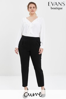 Evans Curve Black Pull-On Tapered Trousers