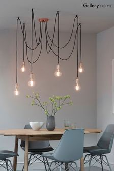 Gallery Direct Copper Industrial 6 Cluster Pendant Light