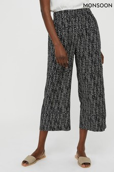 Monsoon Black Kady Print Ecovero Crop Trousers