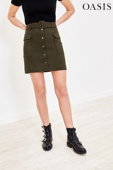 Oasis Green Button Pocket Mini Skirt