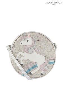 Accessorize Pink Unicorn Glitter Across Body Bag
