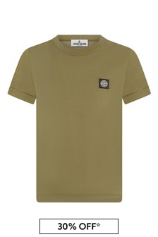 Boys Khaki Cotton T-Shirt