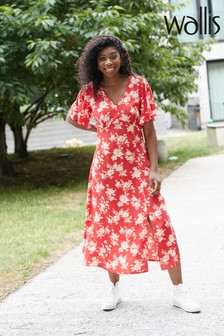 Wallis Orange Silhouette Floral Midi Dress