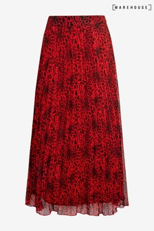 Warehouse Red Leopard Pleated Midi Skirt