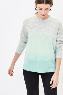 Oasis Green Ombre Fluffy Knit Jumper
