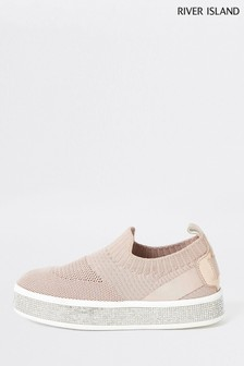 River Island Pink Knitted Channel Trainers