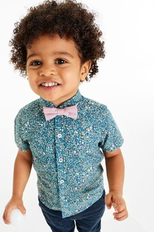 Short Sleeve Shirt And Bow Tie Set (3mths-7yrs)
