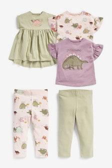 Dino Dress, T-Shirt And Leggings Five Piece Set (3mths-7yrs)