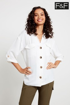 F&F Ivory Glam Button Utility Shirt