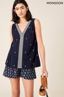 Monsoon Blue Embroidered Tank Top In Lenzing™ EcoVero™