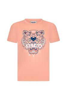 Kenzo Kids Girls Orange/Peach Cotton T-Shirt