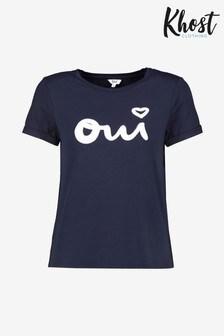 חולצת טי כחולה Oui עם לוגו של Khost