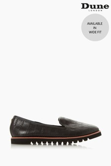 Dune London Galleon Black Croc Print Leather Wide Fit Contrast Print Loafers