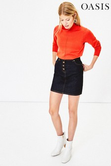 Oasis Blue Button Denim Mini Skirt