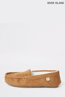 River Island Tan Moccasin Slippers