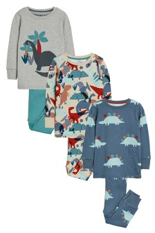 3 Pack Dinosaur Pyjamas (9mths-8yrs)