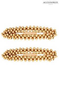 Accessorize Gold Tone Beaded Snap Clips