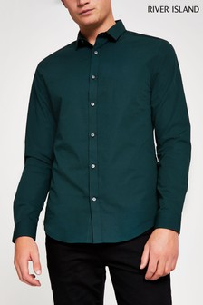 River Island Forest Green Long Sleeve Shirt