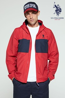 U.S. Polo Assn. Red Colourblock Hooded Jacket