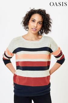Oasis Natural Stripe Knit Jumper