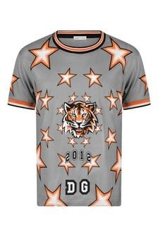 Boys Grey Cotton Tiger Print T-Shirt