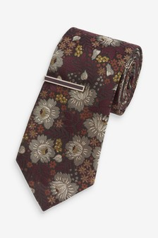 Jacquard Tie And Tie Clip Set