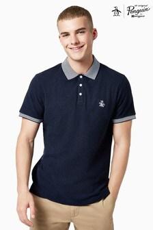 Original Penguin® Blue Contrast Collar Sticker Pete Pique Polo Shirt