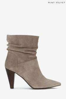Mint Velvet Grey Mary-Ann Taupe Suede Boots