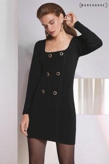 Warehouse Black Compact Tuxedo Mini Dress