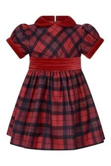Girls Red Tartan With Velvet Detail Dress