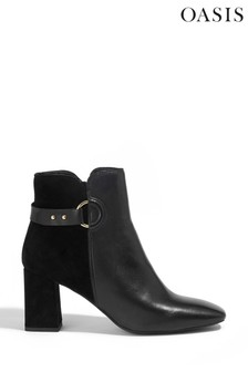 Oasis Black Libby Leather Ankle Boots